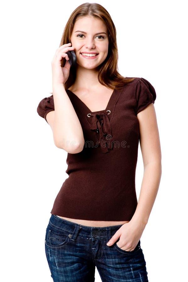 Frau am Telefon lizenzfreie stockfotografie
