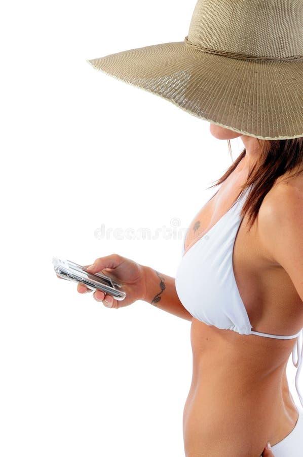 Frau Texting stockfotografie