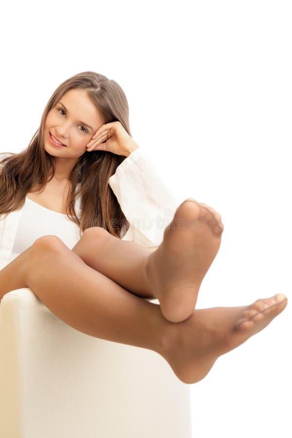 Frau tragender Pantyhose lizenzfreies stockfoto
