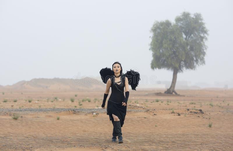 Frau tragendes blackangel beflügelt Wege aus einem Nebel heraus lizenzfreie stockfotografie