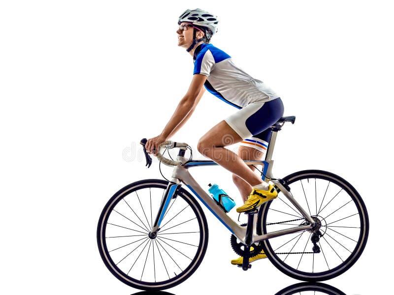 Frau Triathlon ironman Athleten-Radfahrerradfahren stockbilder