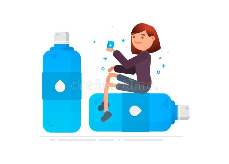 Frau trinkt Wasser Schutz gegen Mikroben stock abbildung