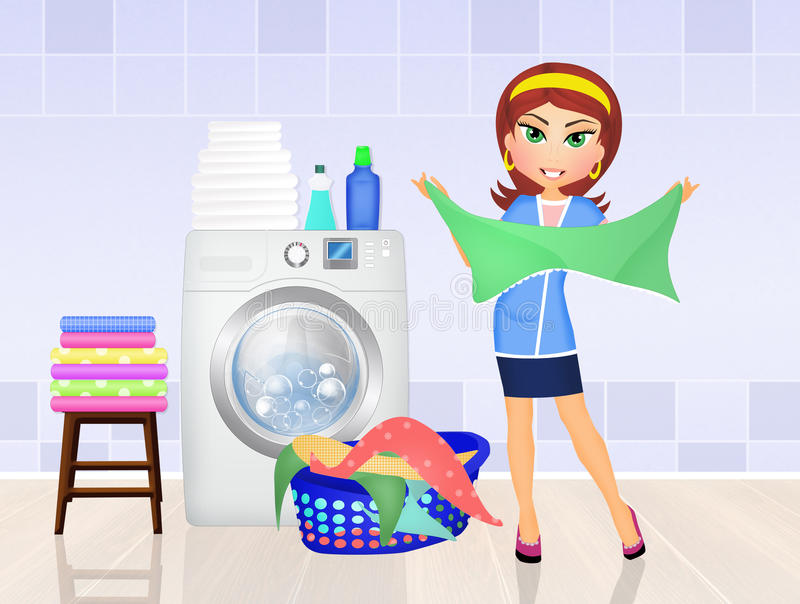 Frau tut die Wäscherei vektor abbildung
