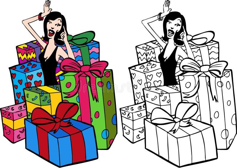 Frau umgeben durch Geschenke vektor abbildung