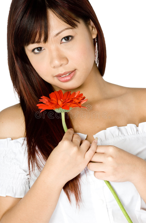 Frau und Blume lizenzfreie stockbilder
