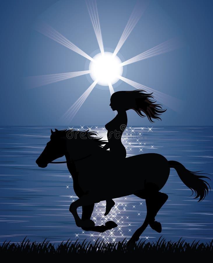 Frau und ein Pferd. stock abbildung