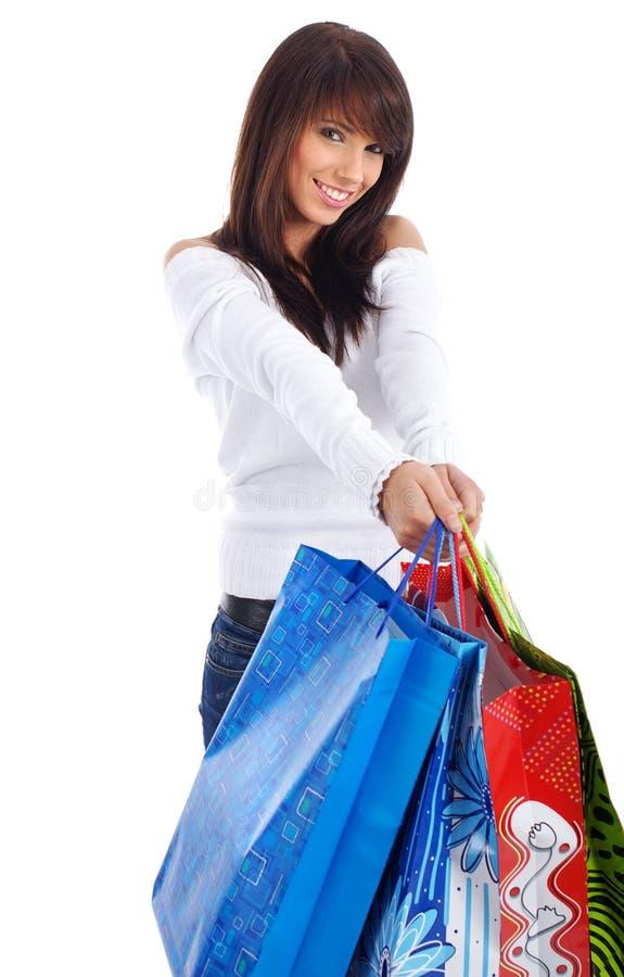 Frau und Einkaufen lizenzfreies stockbild