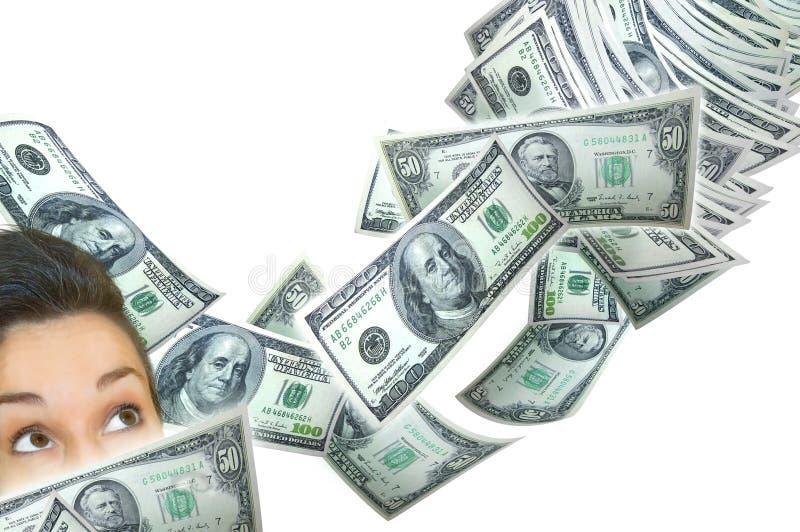 Frau und fallendes Geld lizenzfreie stockfotos