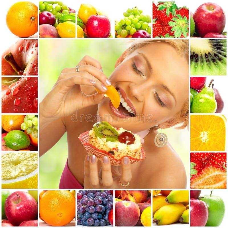 Frau und Früchte lizenzfreies stockbild