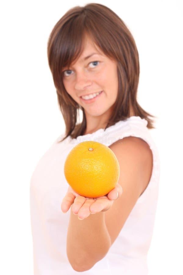 Frau und Früchte stockbilder