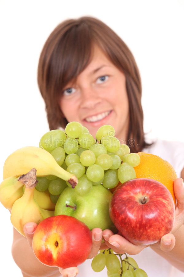 Frau und Früchte stockbild