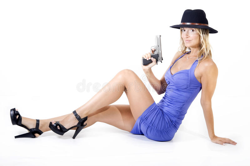 Frau und Gewehr stockbild