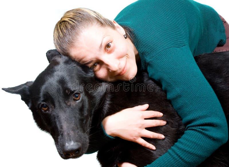 Frau und Hund stockfotos