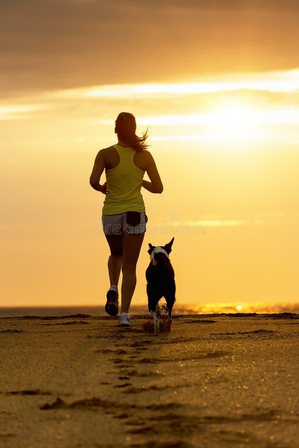 Frau und Hund, die auf Sonnenuntergang laufen lizenzfreies stockfoto