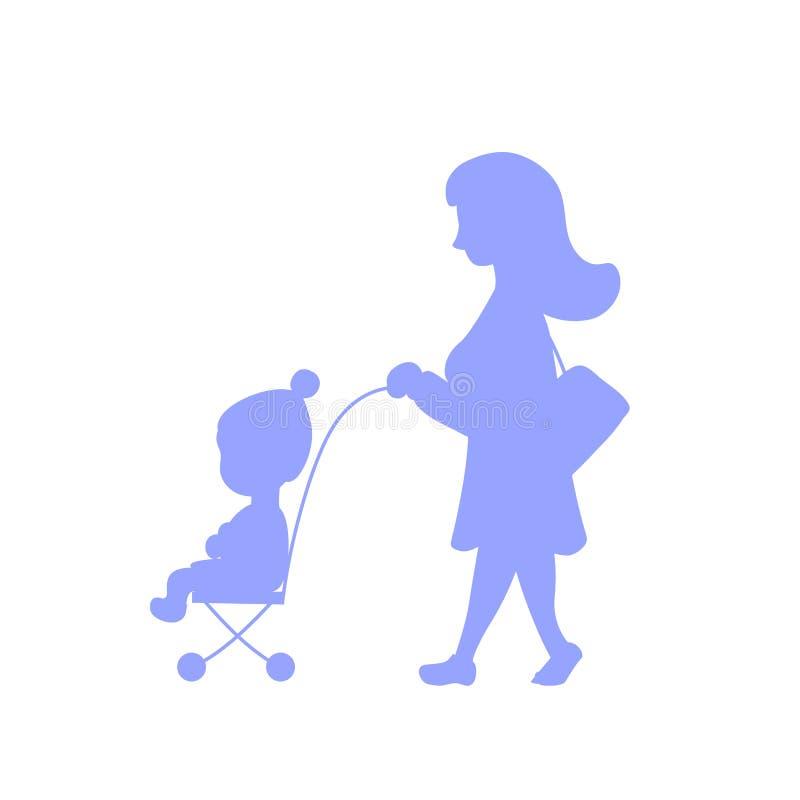 Frau und Kind in der Laufkatze, Schattenbildvektorillustration Gehen mit Baby als Eignungsübung Zurück zu Form vektor abbildung