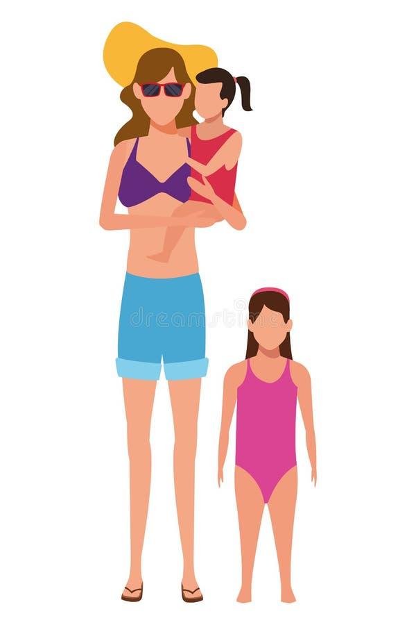 Frau und Kinderavatara lizenzfreie abbildung