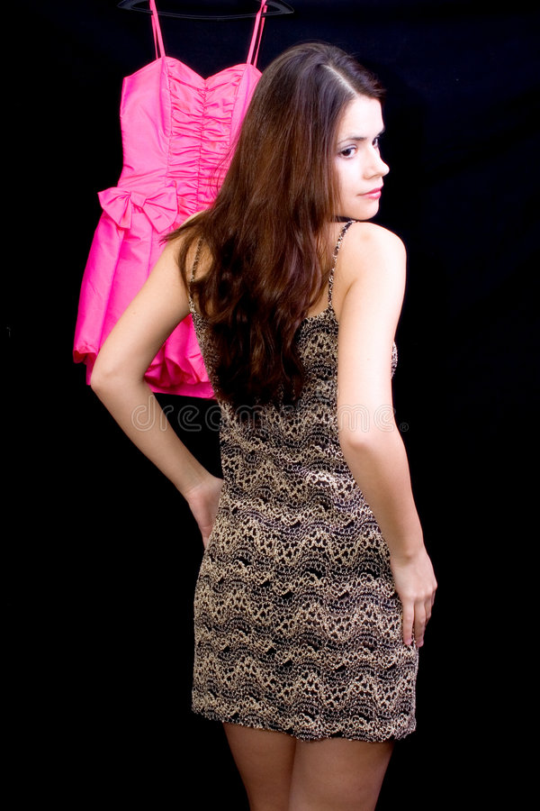 Frau und Kleid lizenzfreie stockbilder