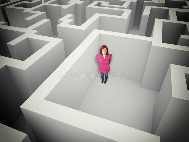Frau und Labyrinth lizenzfreie abbildung