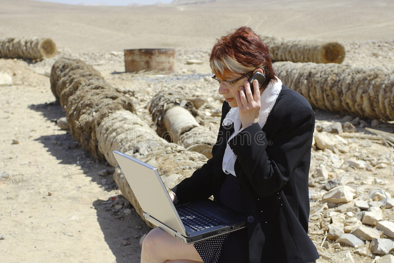 Frau und Laptop stockbild