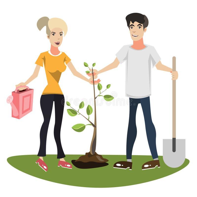 Frau und Mann, die einen Baum pflanzen stock abbildung