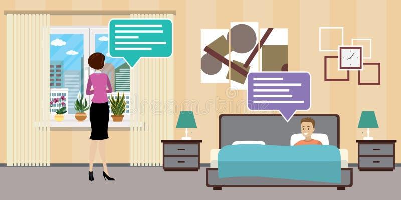 Frau und Mann, die im Hotelzimmer oder im Schlafzimmer, flaches Innende sprechen vektor abbildung