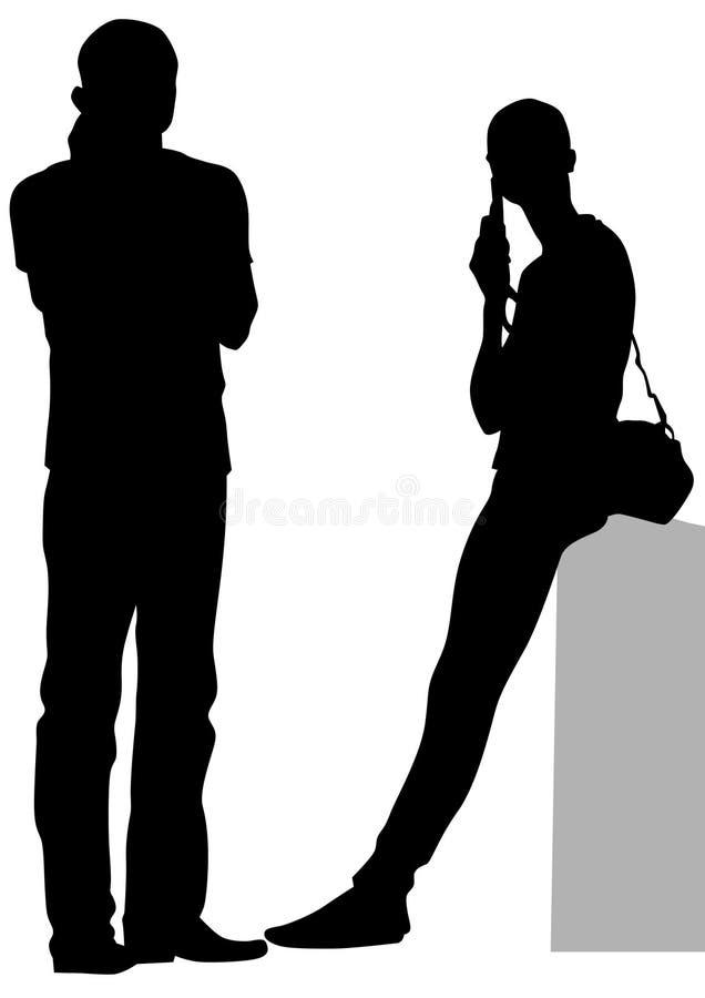 Download Frau und Mann mit Telefon vektor abbildung. Illustration von mann - 96931829