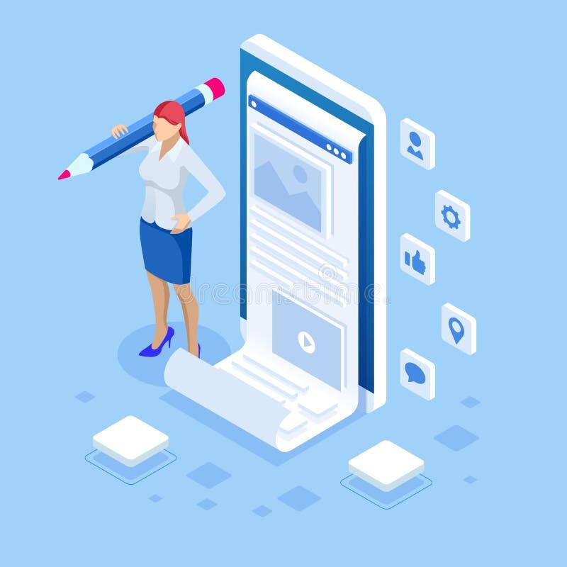 Frau und Smartphone mit Mode Bloggerstandort Isometrisches Freiberuflich tätig sein, kreatives Bloggen, Handelsblogaufgabe vektor abbildung