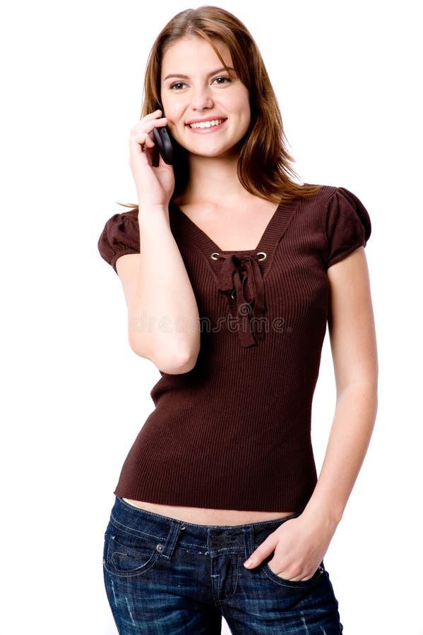 Frau und Telefon stockbild