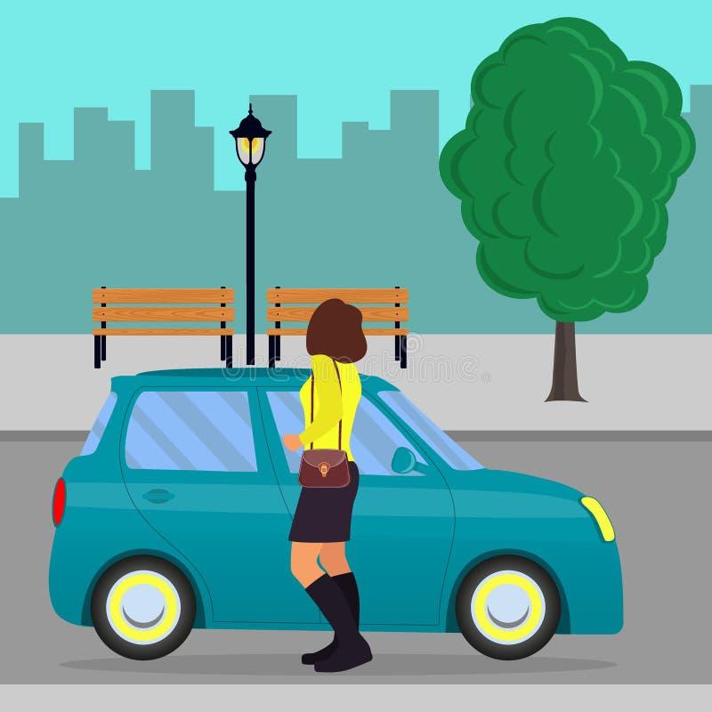Frau verließ ein Auto auf der Straße Mädchen, das am netten kleinen Auto, gesehen von hinten, eine Stadt im Hintergrund steht Vek stock abbildung