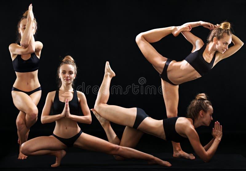 Frau in verschiedenen Yoga asanas lizenzfreies stockfoto