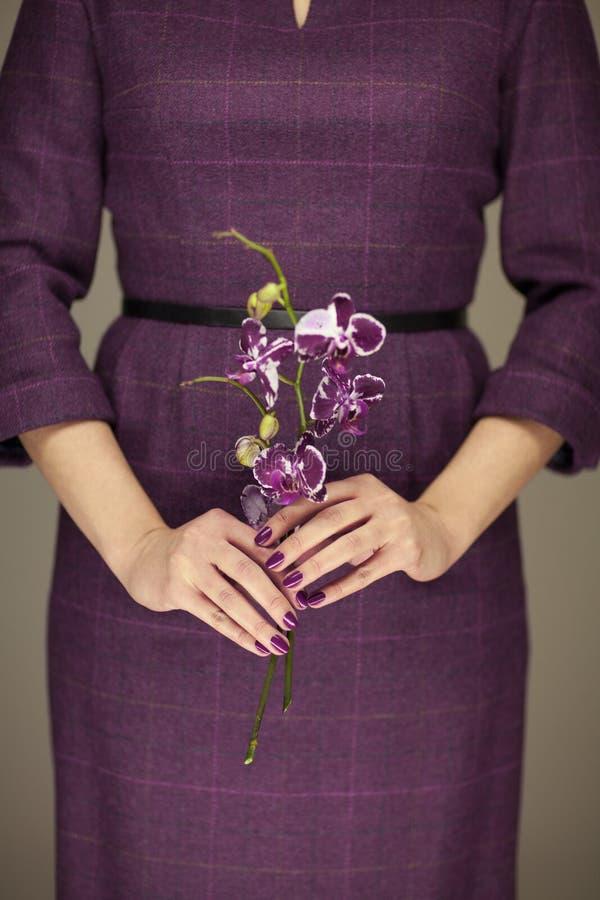 Frau in violett 50 ` s Kleid übergibt das Halten einiger Orchideenblumen lizenzfreie stockfotografie