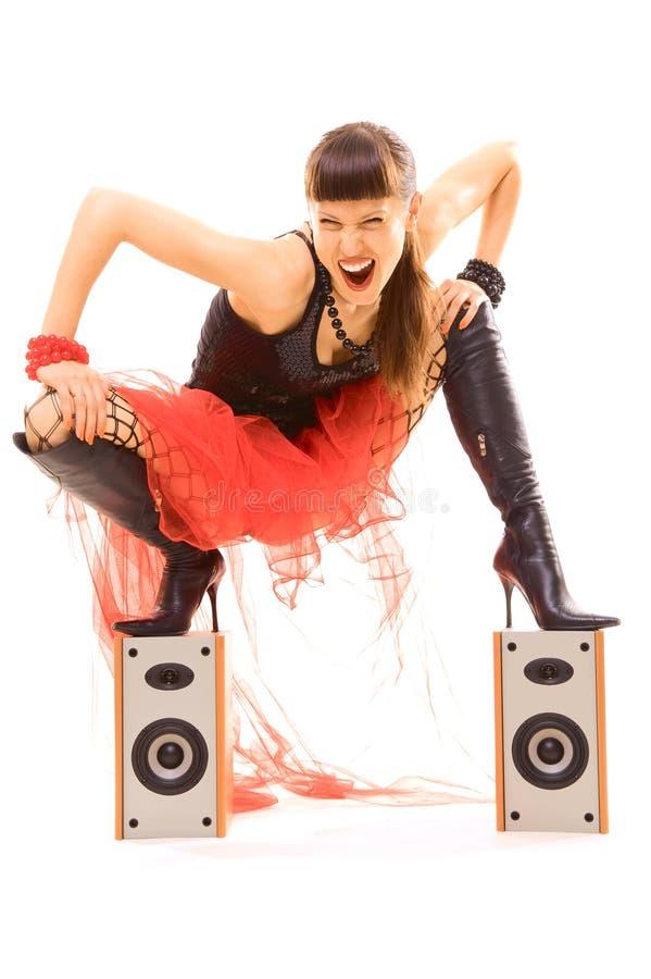Frau wütend mit Musik stockfotos