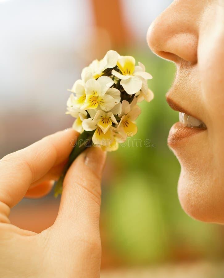 Frau, welche die Blumen riecht stockfoto