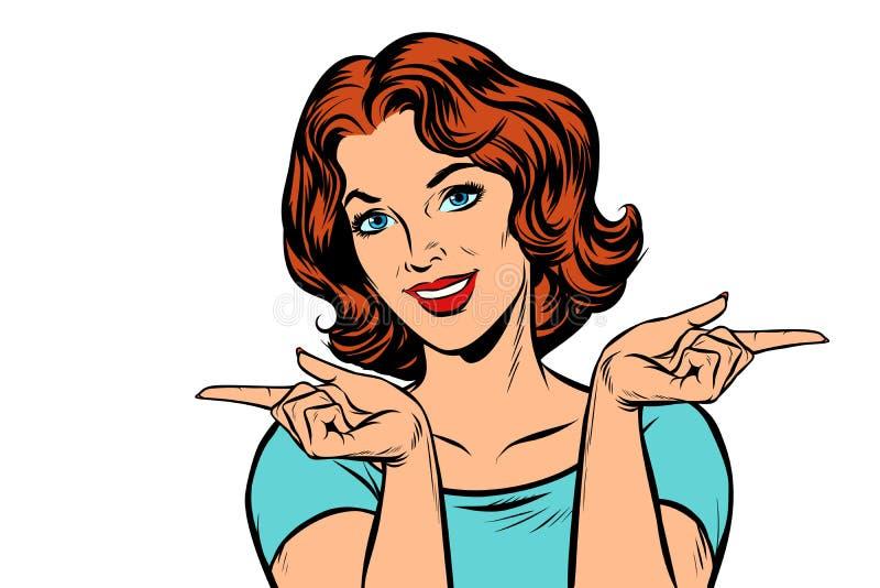 Frau, welche die Finger gelassen und recht zeigt vektor abbildung