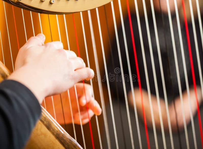 Frau, welche die Harfe spielt stockfotos