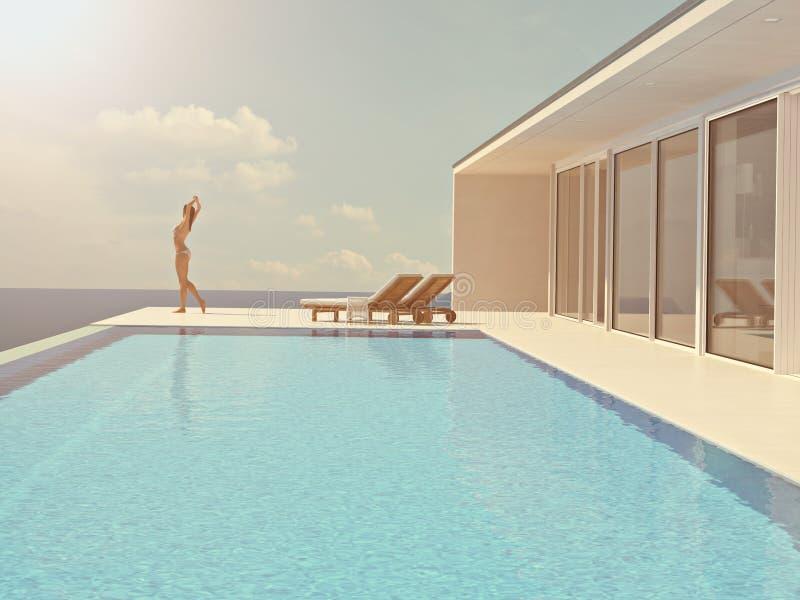 Frau, welche die Sonne am endlosen Pool genießt Wiedergabe 3d stockfoto