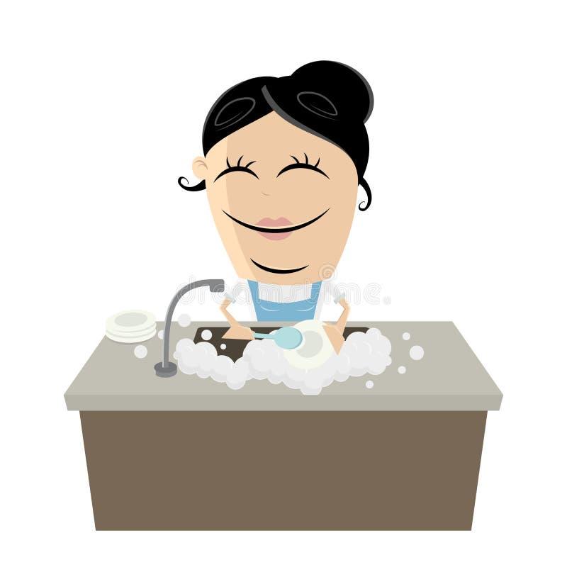 Frau, welche die Teller wäscht vektor abbildung