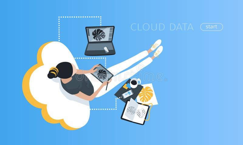 Frau zeichnet unter Verwendung der flachen Vektorillustration der Wolkendatenspeicherung stock abbildung