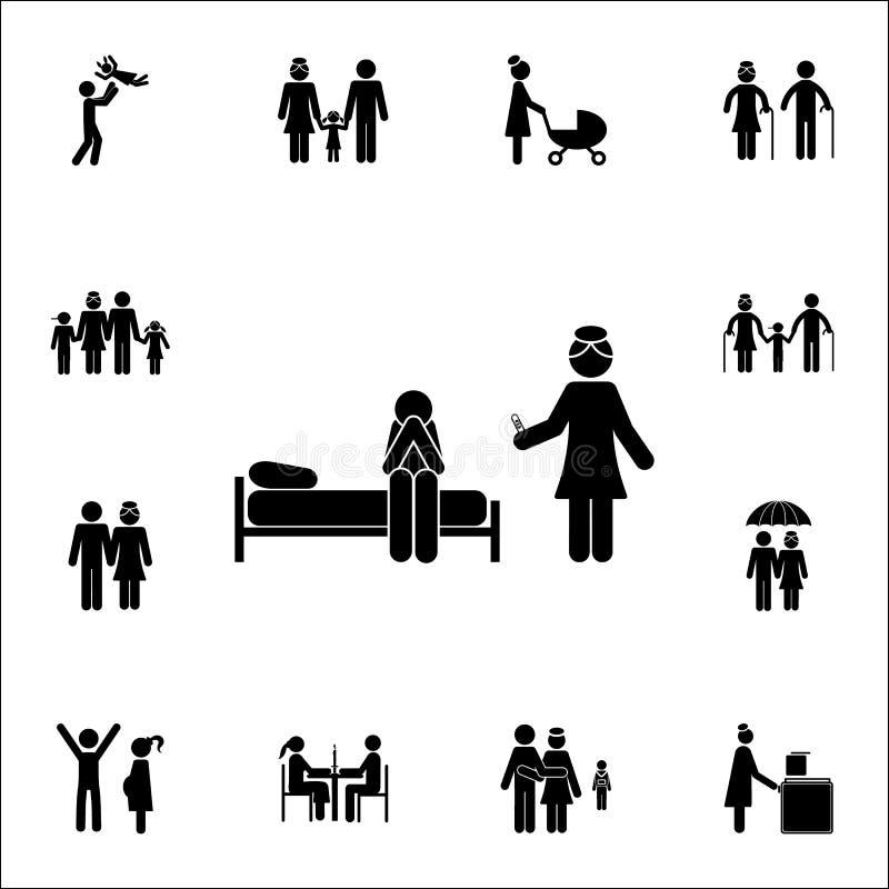 Frau zeigt einen Schwangerschaftstest für eine Mannikone Ausführlicher Satz Familienikonen Erstklassiges Qualitätsgrafikdesignzei stock abbildung
