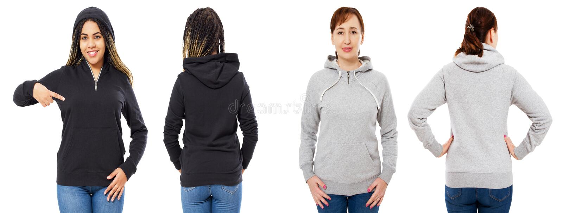 Frau zwei im grauen schwarzen Hoodiespott herauf die lokalisierte Collage eingestellt über Weiß stockbilder