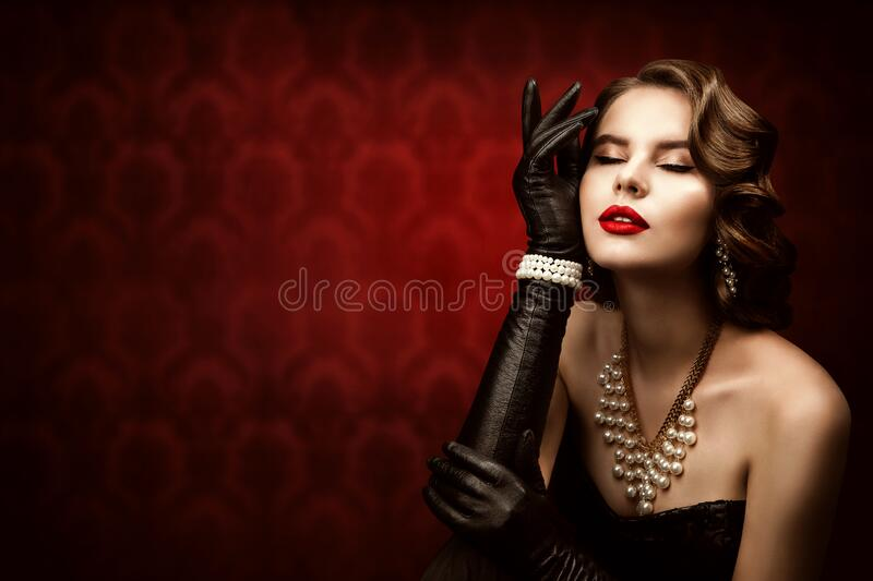 Frauan Retro Beauty Portrait, Modemodell Frisur, Elegante Lady stockfotos