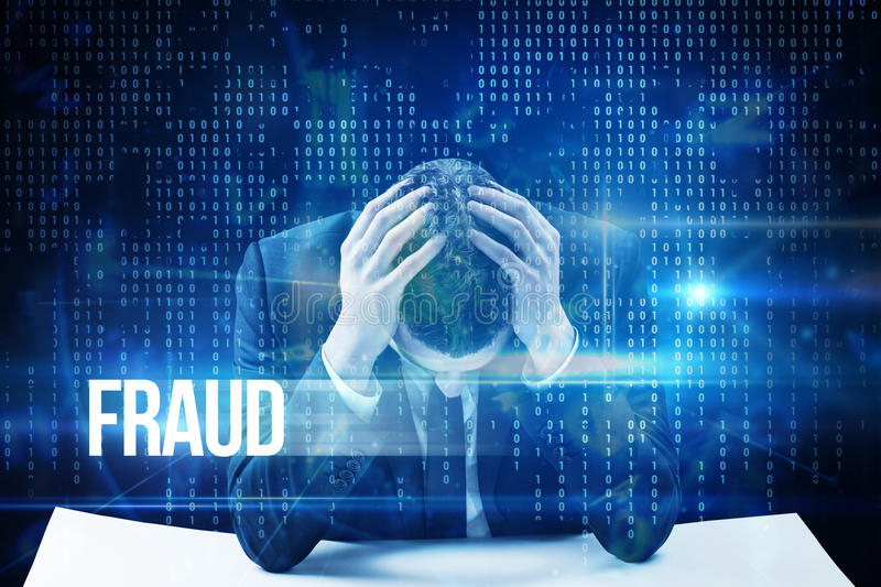 Fraud against blue technology interface with binary code. The word fraud and businessman with head in hands against blue technology interface with binary code royalty free stock images