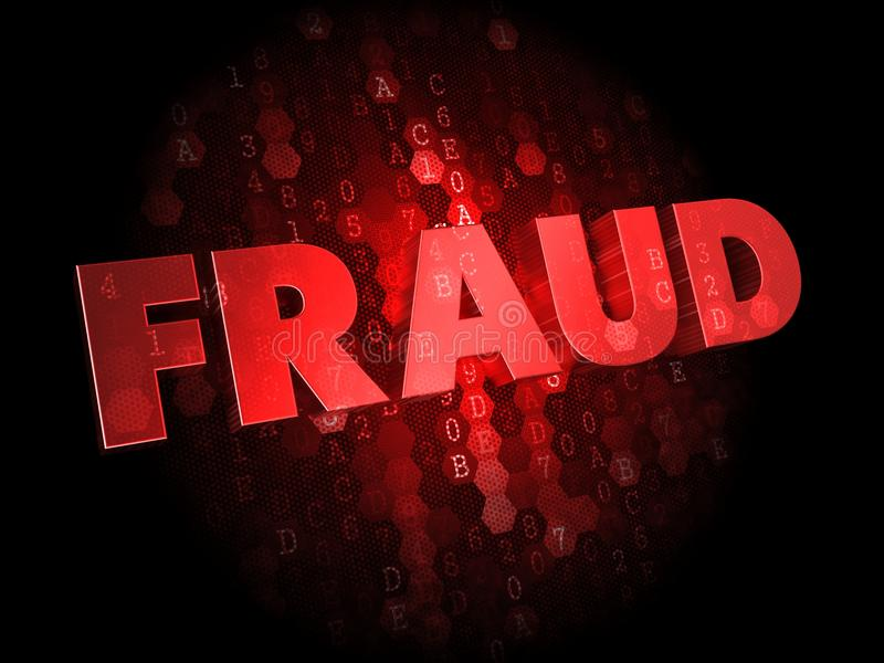 Fraud On Dark Digital Background. Stock Photos