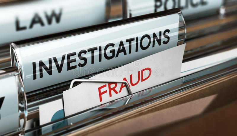 Fraud Investigation, Detective Files stock illustration