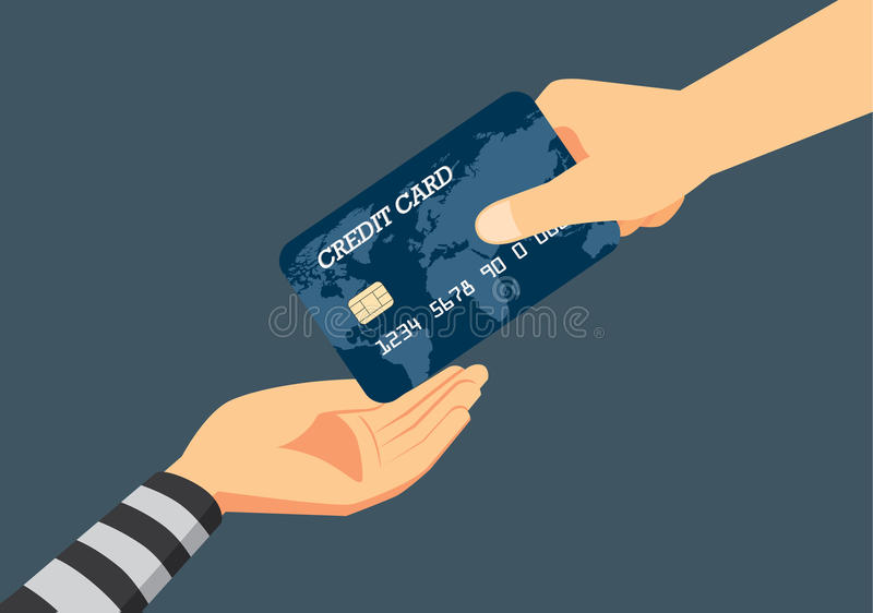 Fraud to identity theft when payment with a credit card. stock illustration