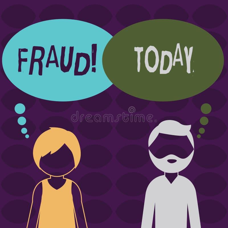 Fraude del texto de la escritura Concepto que significa el engaño criminal para conseguir aumento financiero o demonstratingal ho ilustración del vector