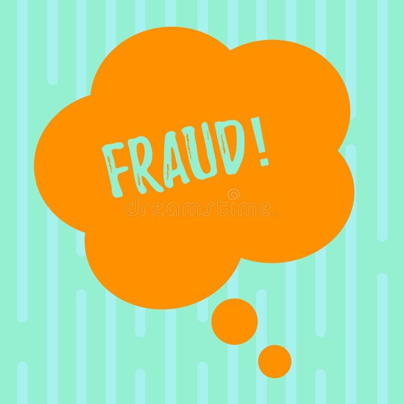 Fraude del texto de la escritura de la palabra Concepto del negocio para que engaño criminal consiga aumento financiero o demonst stock de ilustración