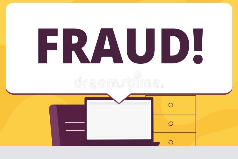 Fraude del texto de la escritura de la palabra Concepto del negocio para que engaño criminal consiga espacio en blanco financiero libre illustration