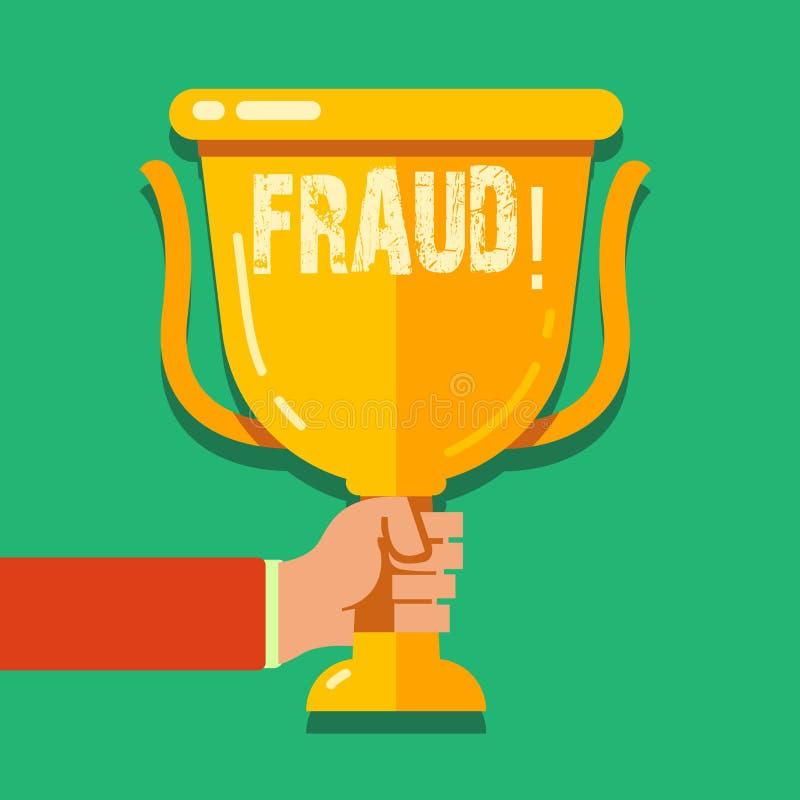 Fraude del texto de la escritura de la palabra Concepto del negocio para que engaño criminal consiga tenencia financiera o demons ilustración del vector