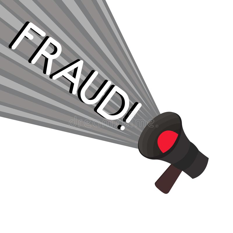 Fraude del texto de la escritura de la palabra El concepto del negocio para el engaño criminal ilícito pensó aumento financiero o ilustración del vector